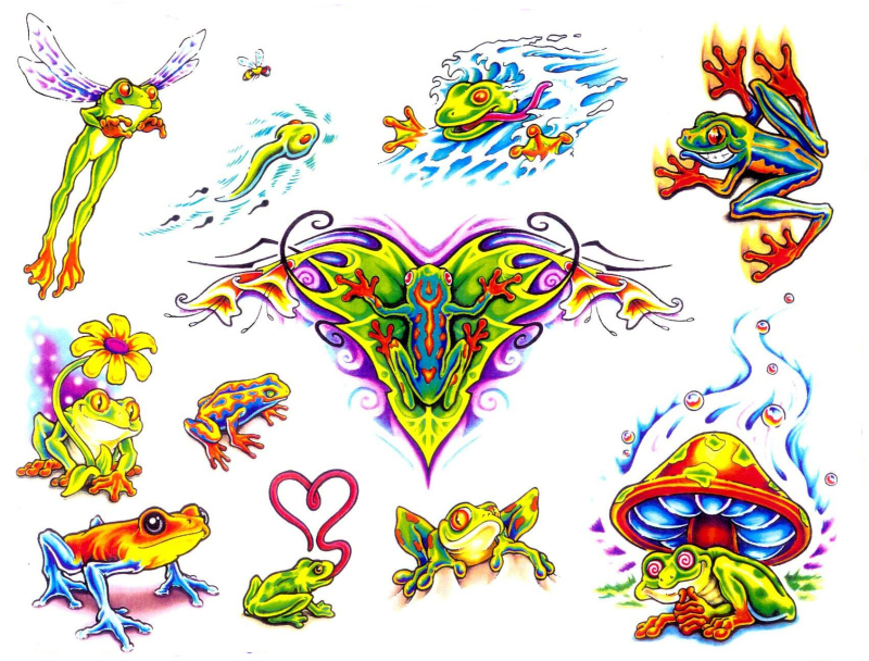 Few frog tattoo designs