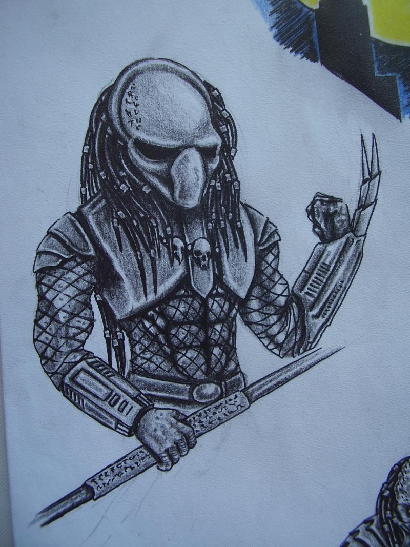 Fight alien predator tattoo sketch