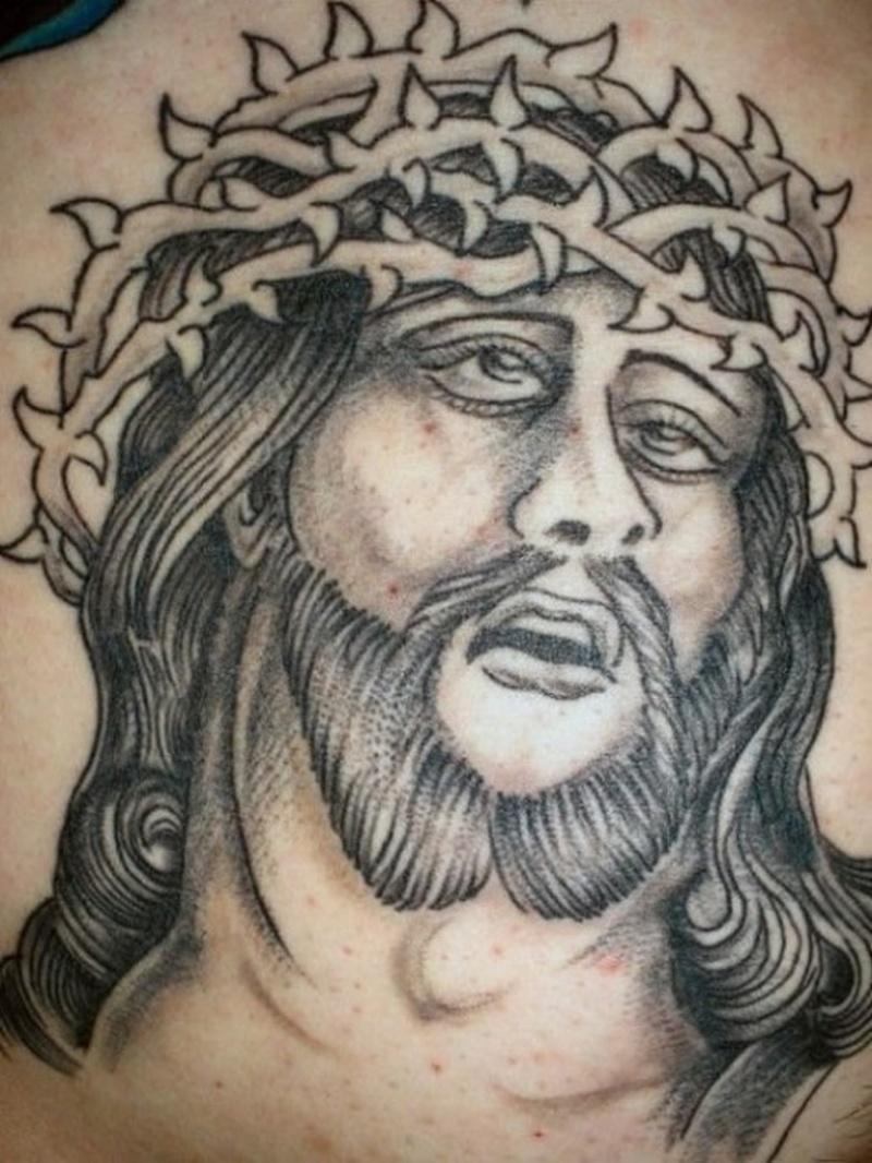 Fine jesus portrait tattoo design