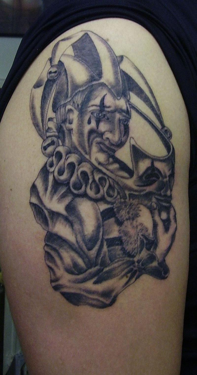 Fine joker tattoo on arm