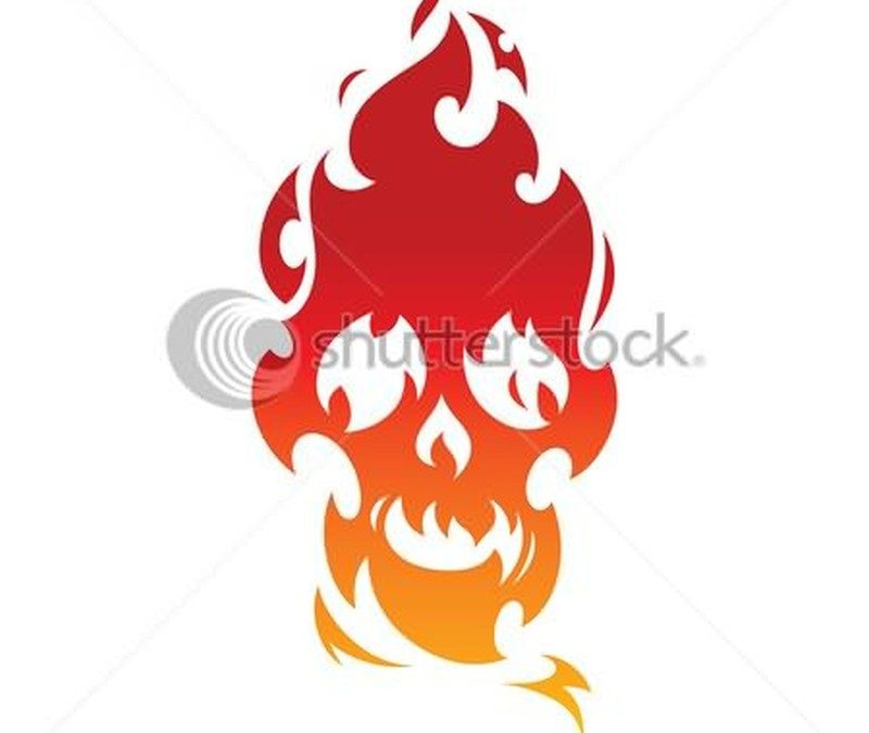 Fire nd flame skull tattoo stencil