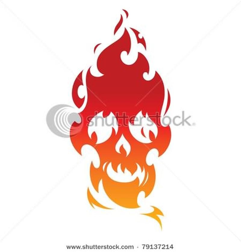 Fire nd flame skull tattoo stencil