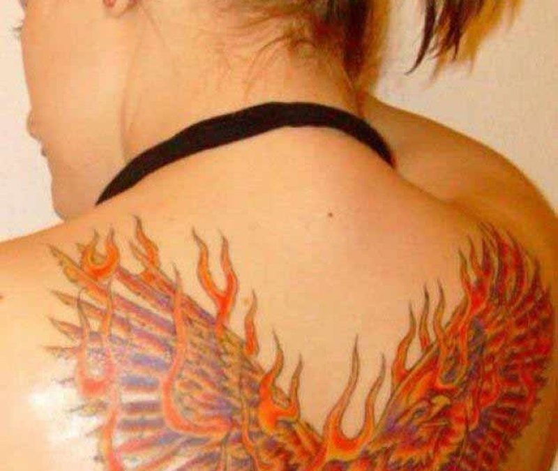 Fire phoenix tattoo design for women