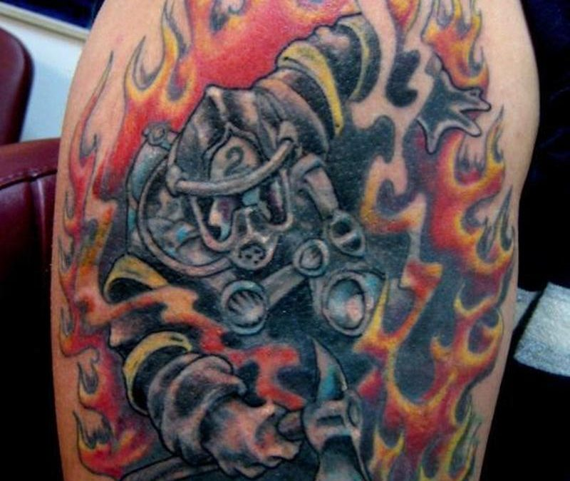 Firefighter cover up tattoo design
