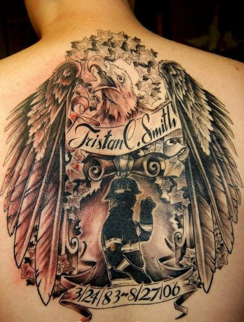 Firefighter eagle tattoo on back