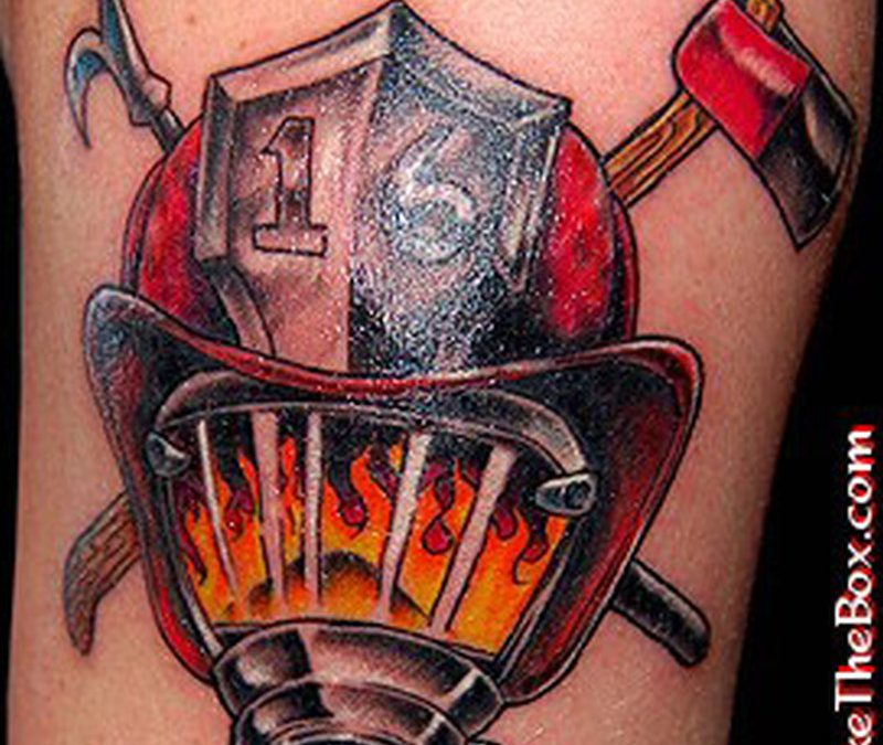 Firefighter equipments tattoo design
