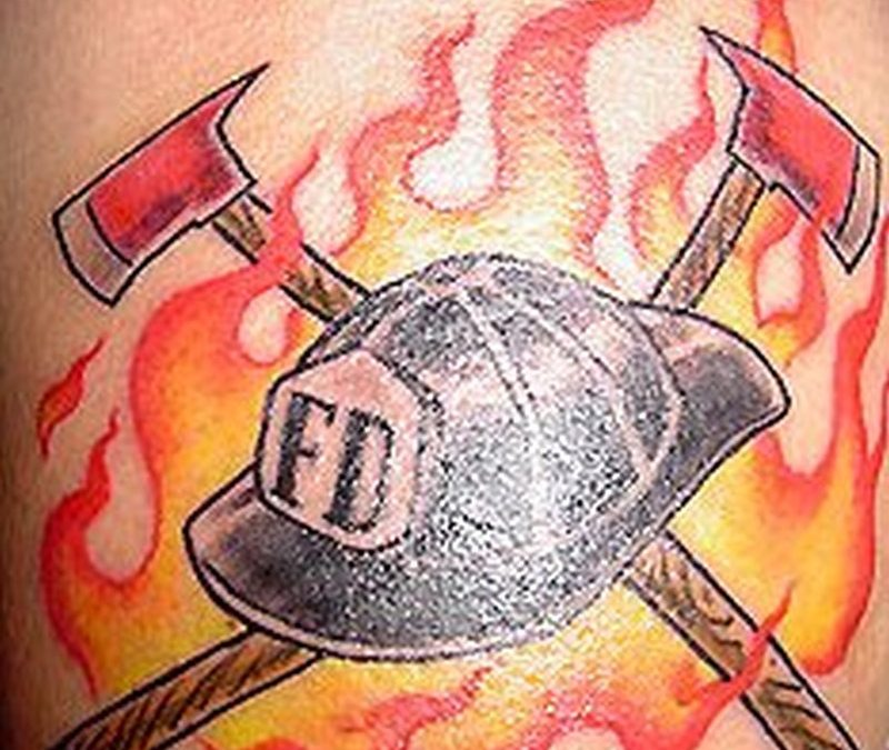 Firefighter equipments with cap design tattoo
