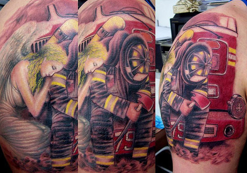 Firefighter in brazil tattoo design