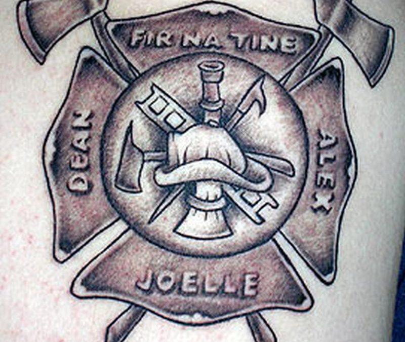 Firefighter maltese cross tattoo design