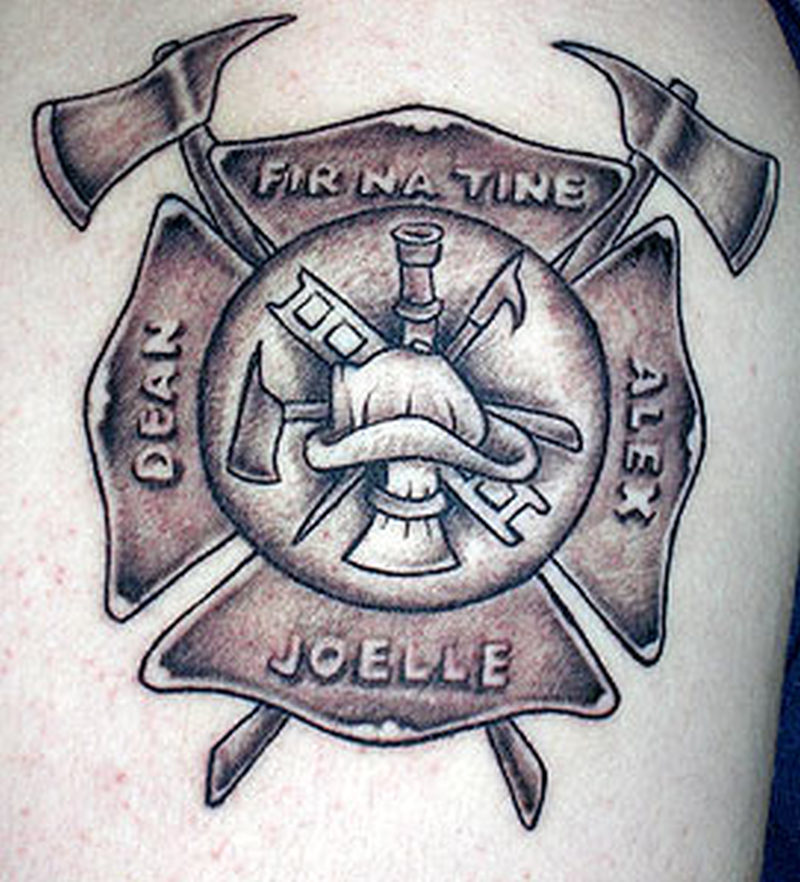 Firefighter maltese cross tattoo design