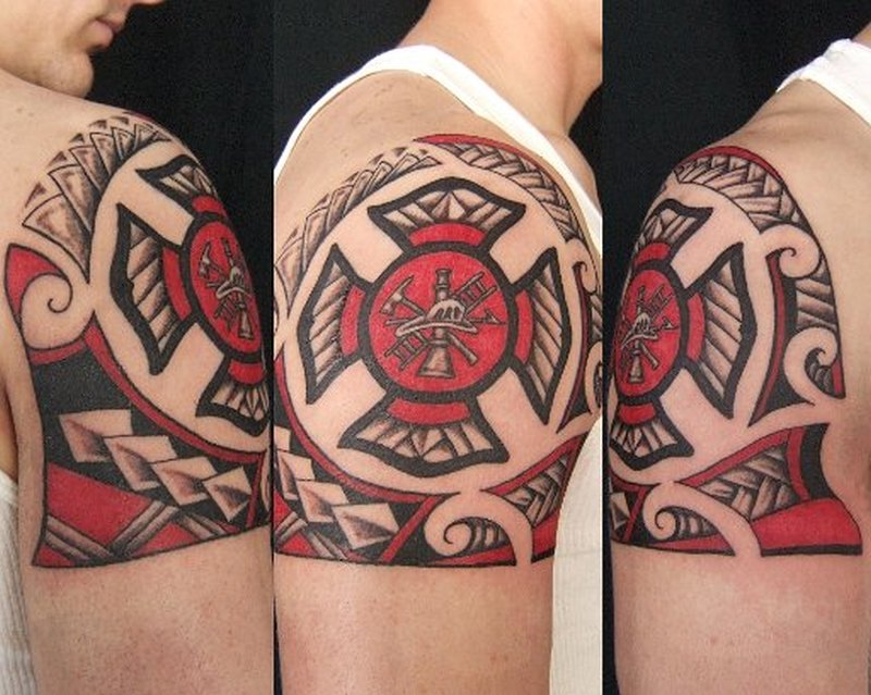 Firefighter maltese cross tattoo on shoulder 2