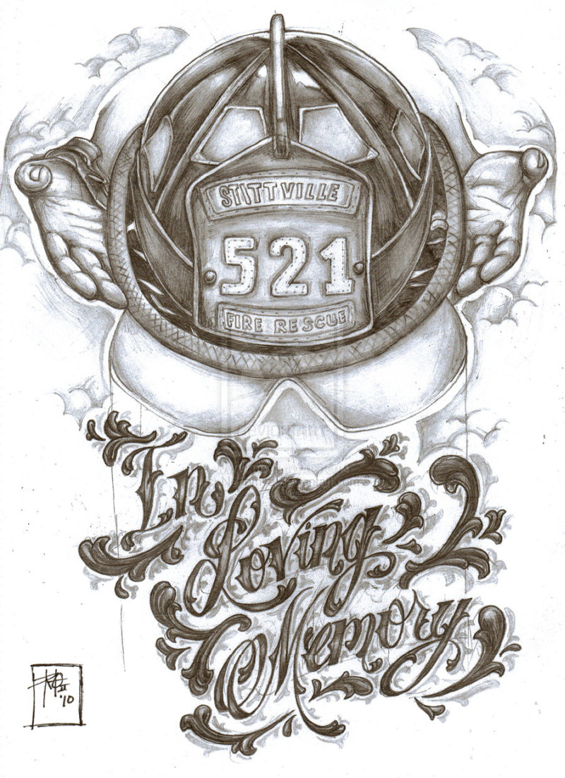 Firefighter memorial tattoo design