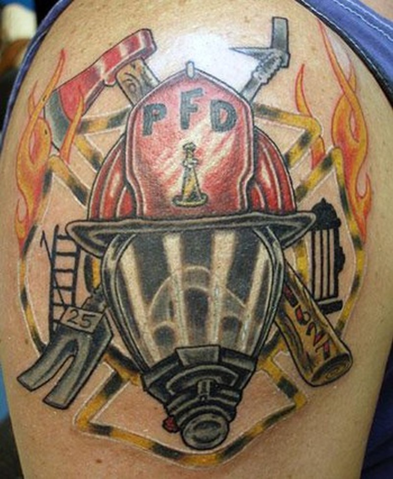 Firefighter tattoo for shoulder