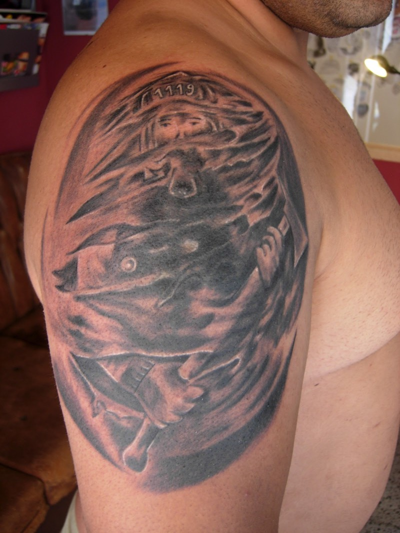 Firefighter tattoo on shoulder for men