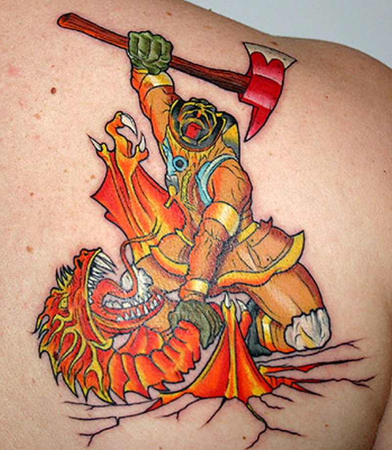 Firefighter vs dragon tattoo on back of shoulder