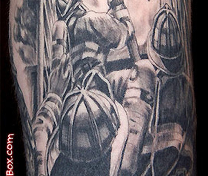 Firefighters in action tattoo design
