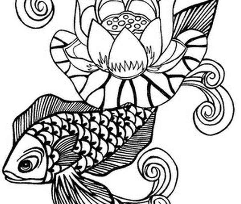 Fish n lotus tattoo sample