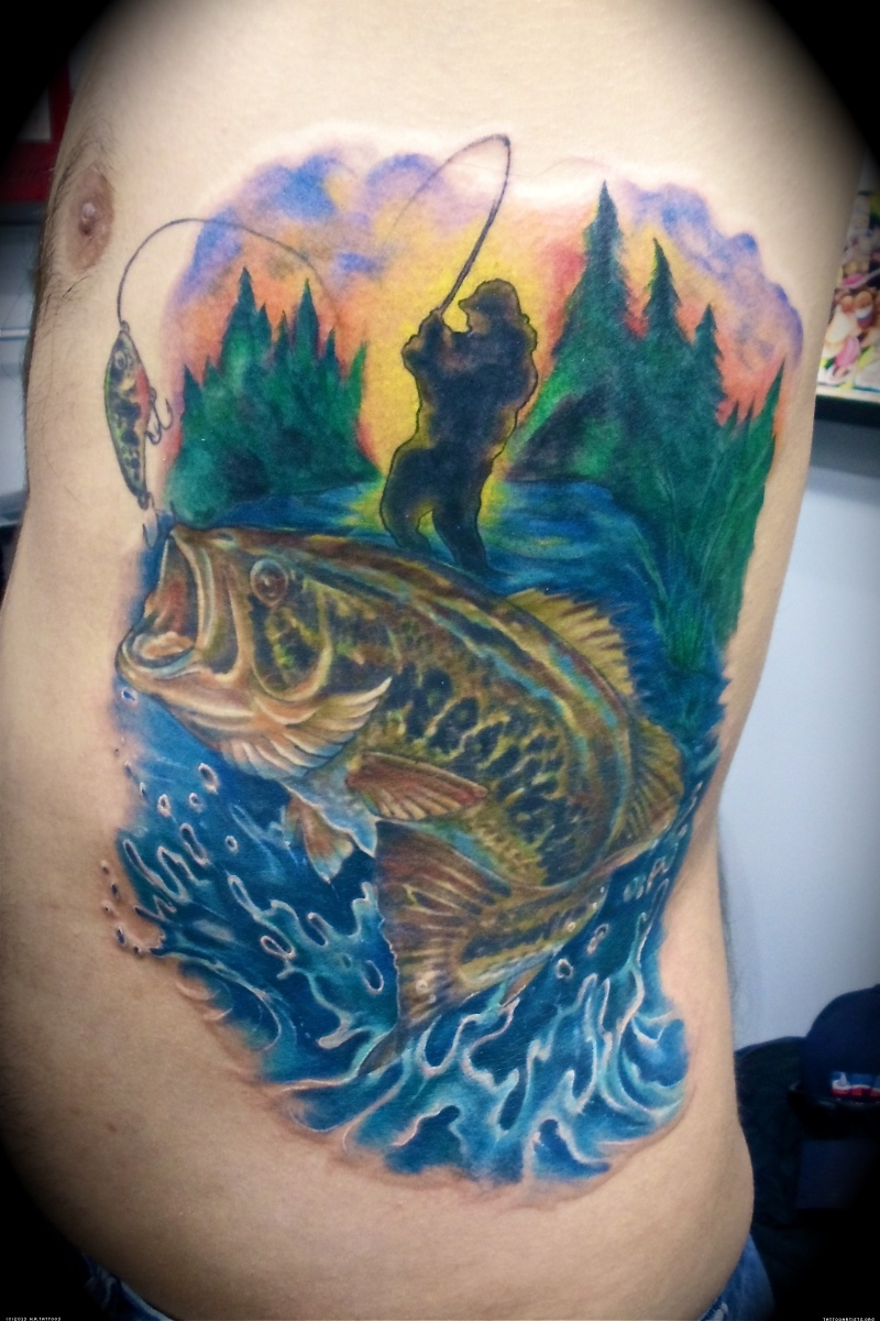 Fish tattoo picture on side for men