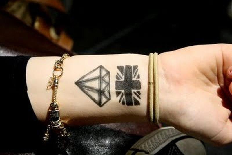 Flag n diamond tattoo on wrist