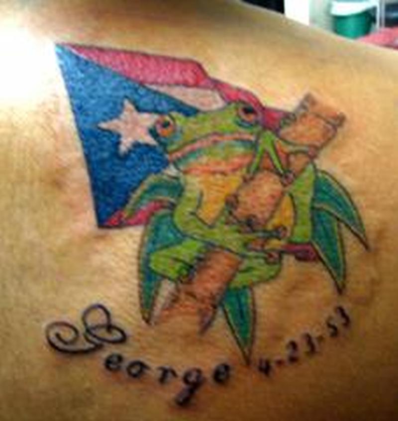Flag n frog tattoo design