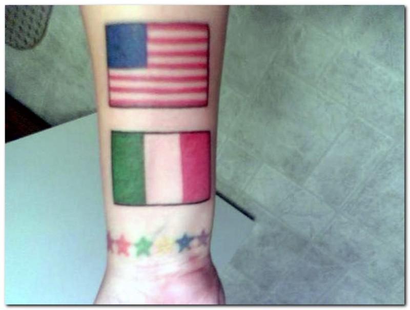 Flag tattoo designs on forearm