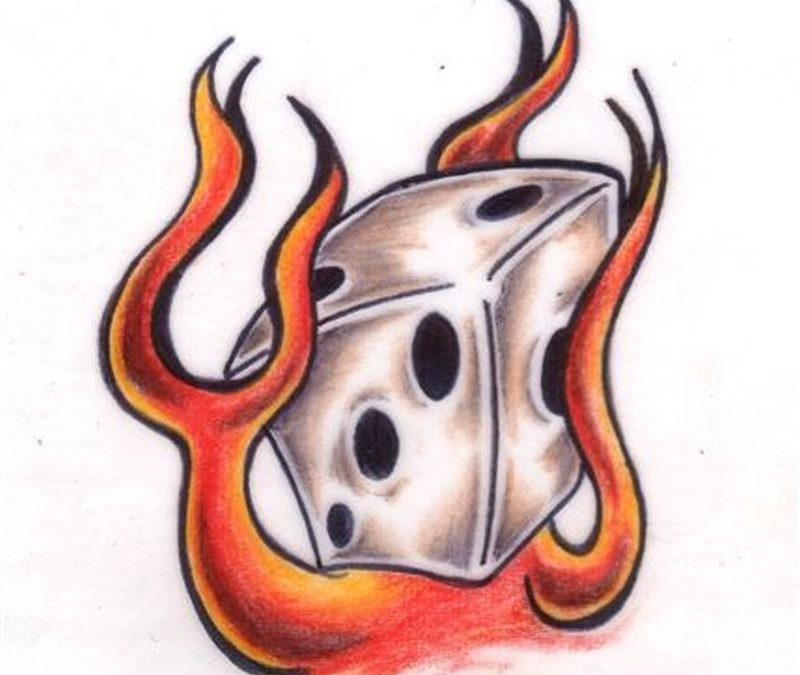 Flame dice tattoo image