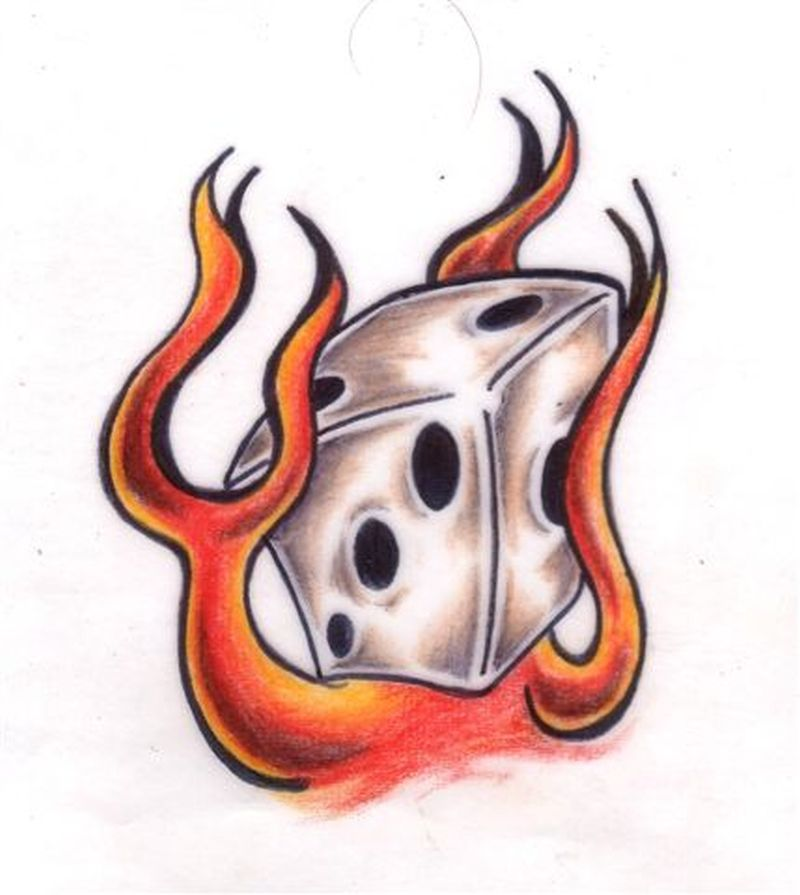 Flame dice tattoo image