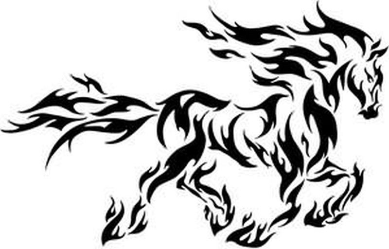 Flame horse tattoo stencil