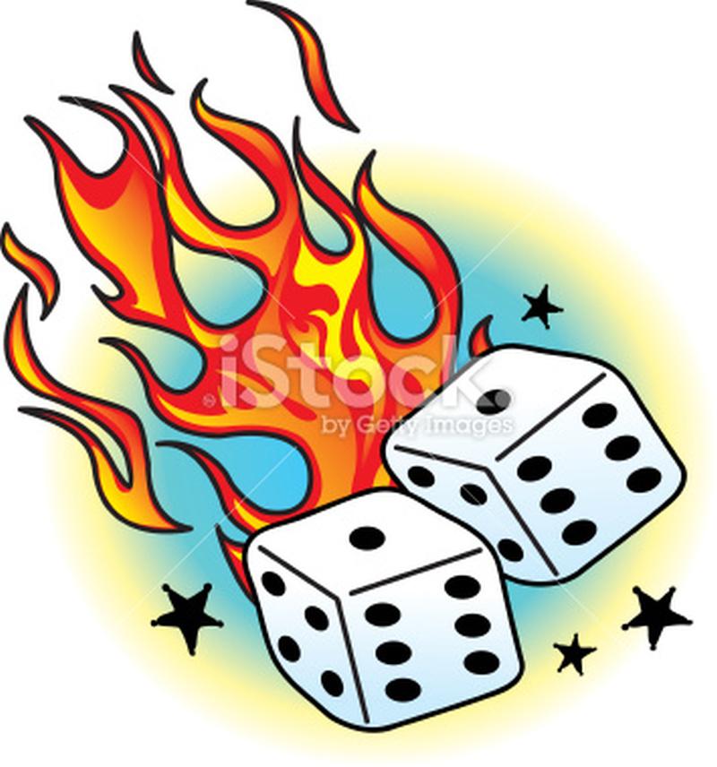 Flames dice n stars tattoo design