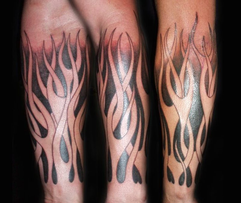 Flames from arm tattoo design