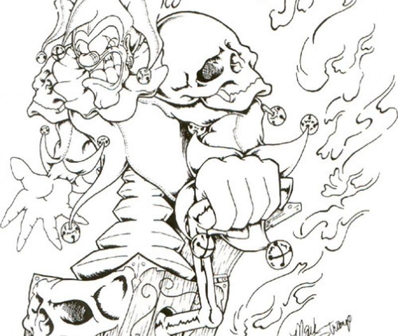 Flames joker tattoo design