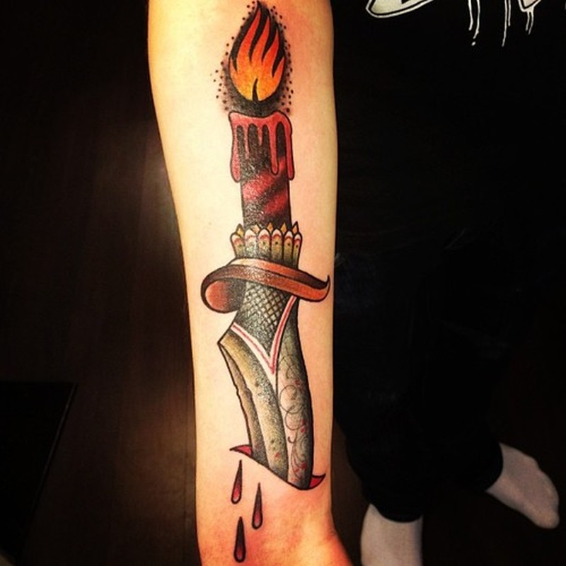 Flaming candle tattoo 2