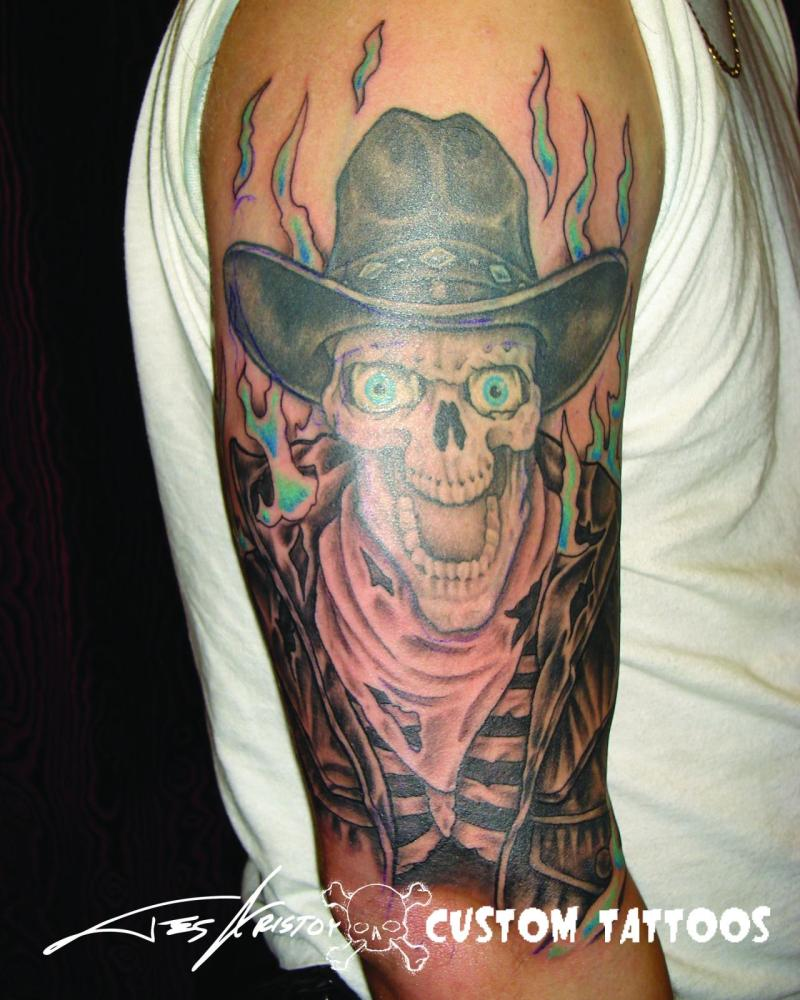 0ab2b3c0bc912 Flaming cowboy skull tattoo on sleeve - Tattoos Book - 65.000 ...