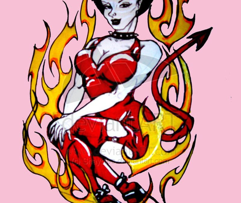 Flaming devil woman tattoo design