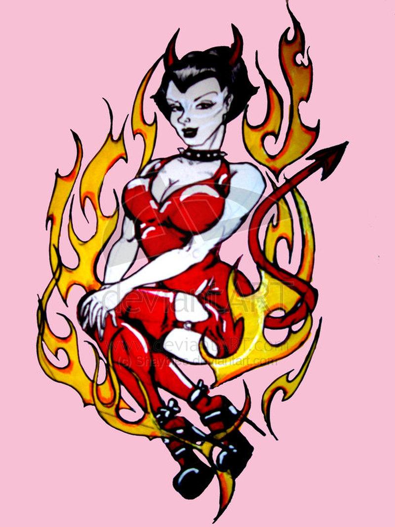 Flaming devil woman tattoo design
