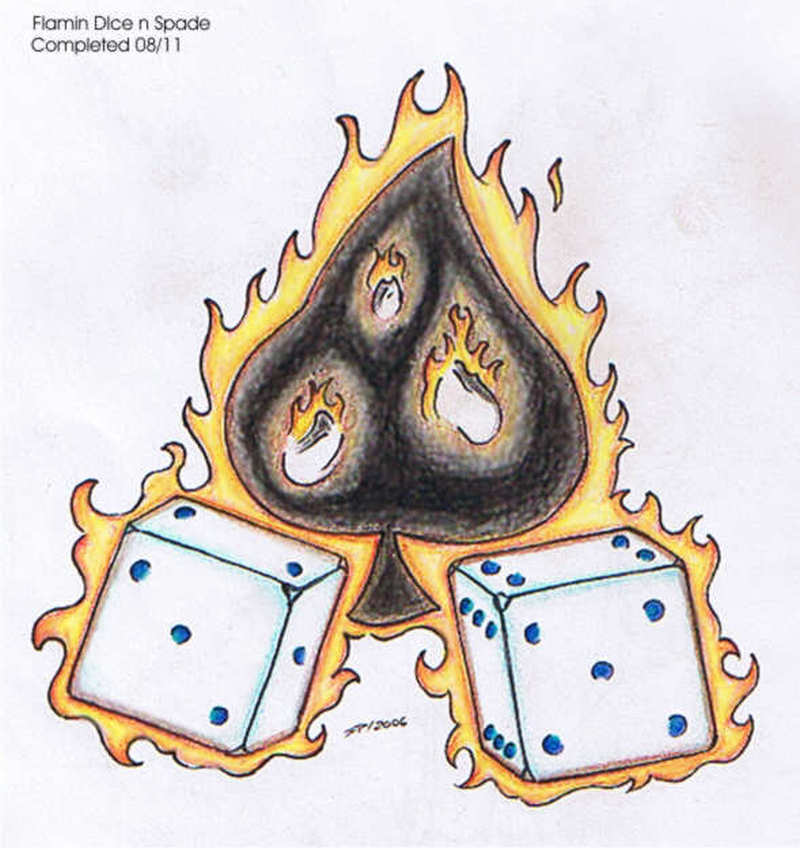 Flaming dice n spade gambling tattoo stencil