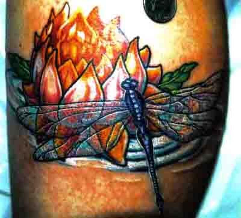 Flaming flower n dragonfly tattoo