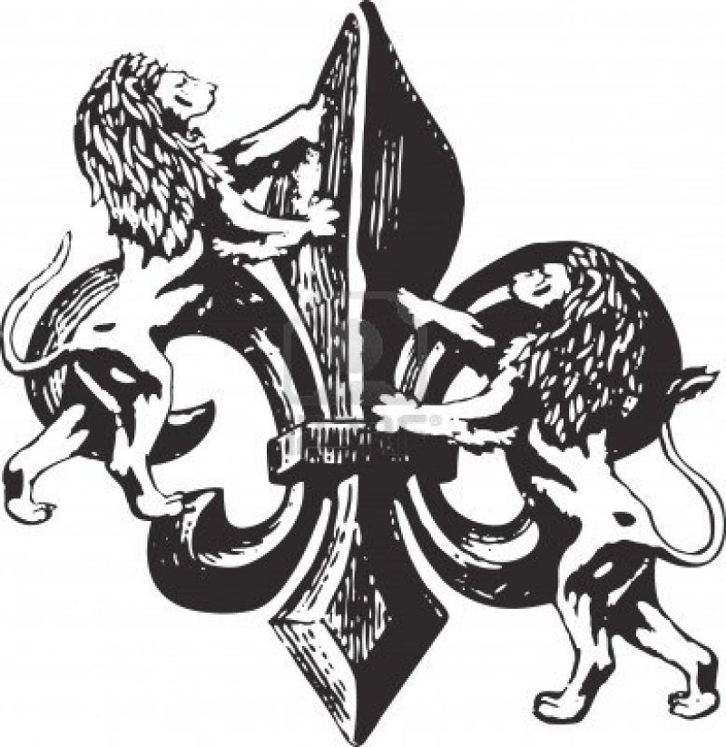 Fleur de lis with lions tattoo design