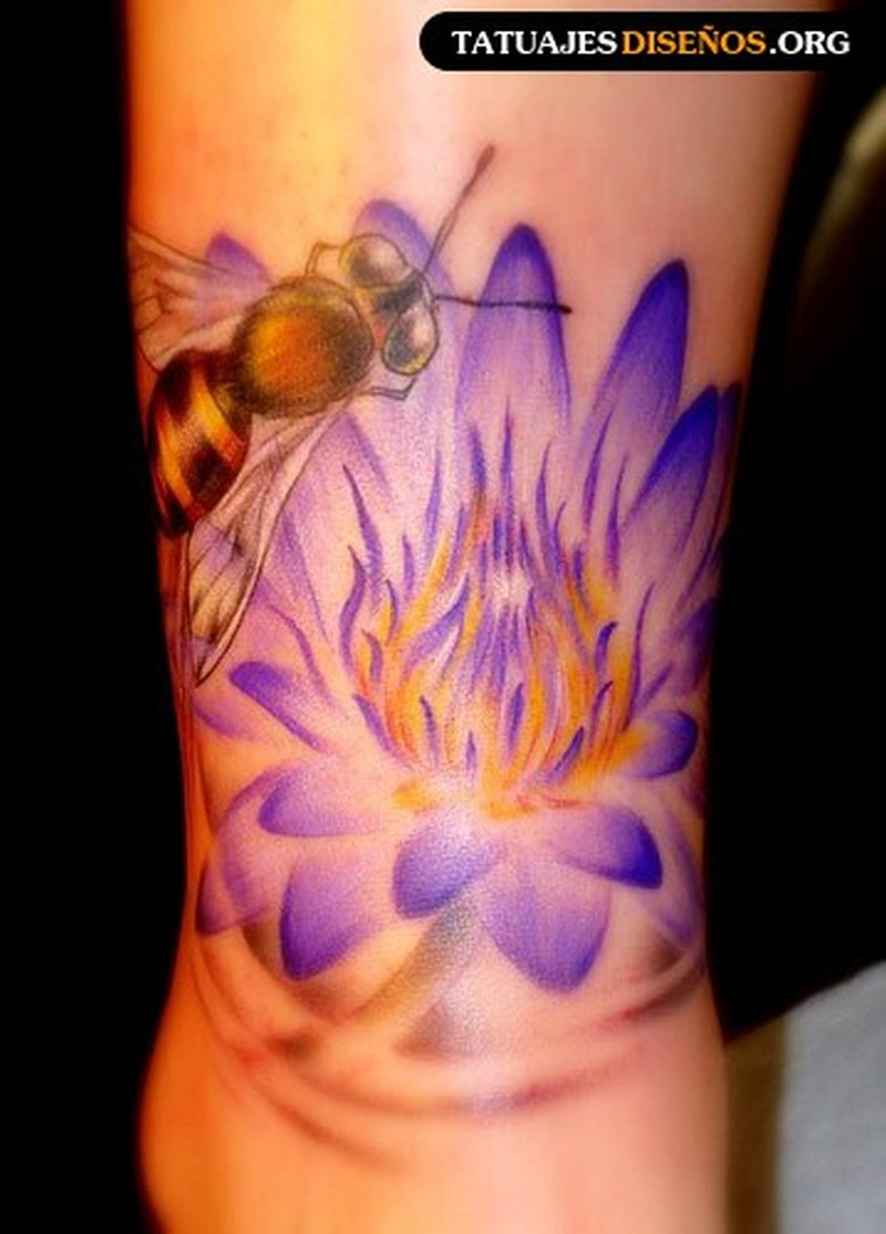 Floral bee tattoo design