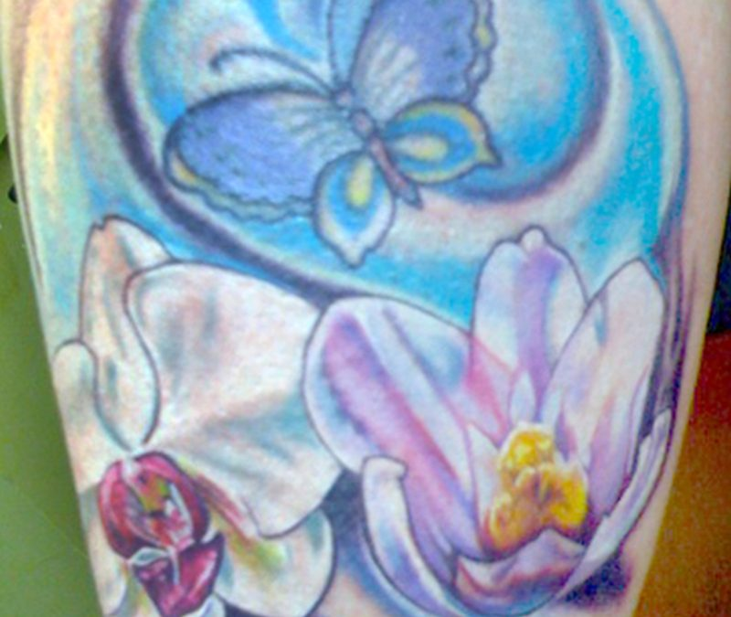 Floral butterfly tattoo design