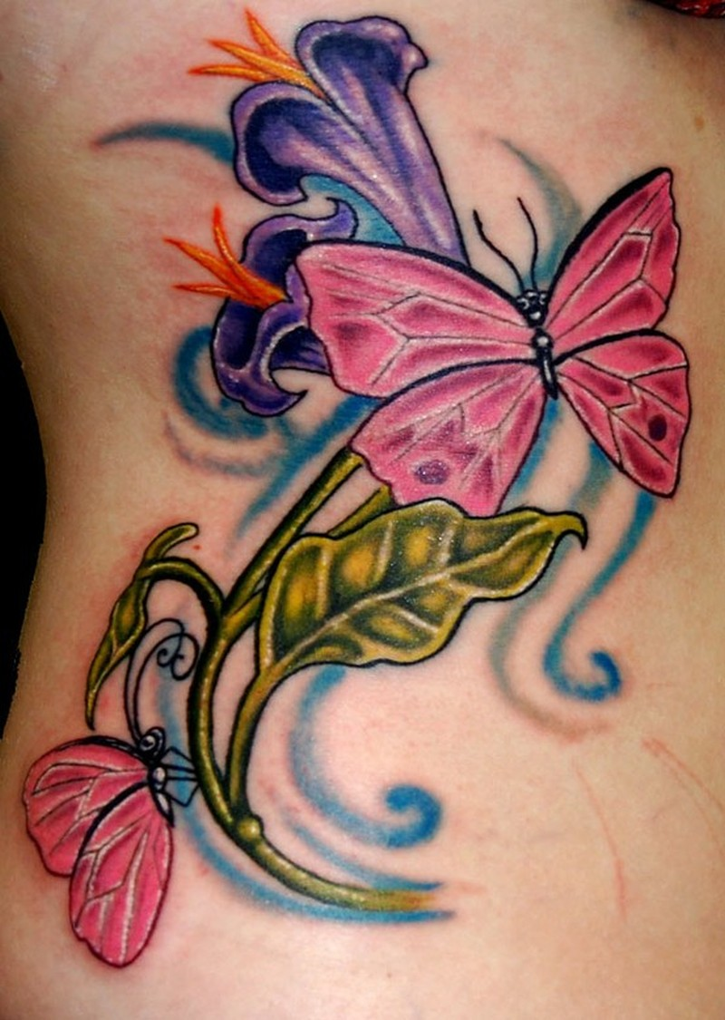 Floral butterfly tattoo image
