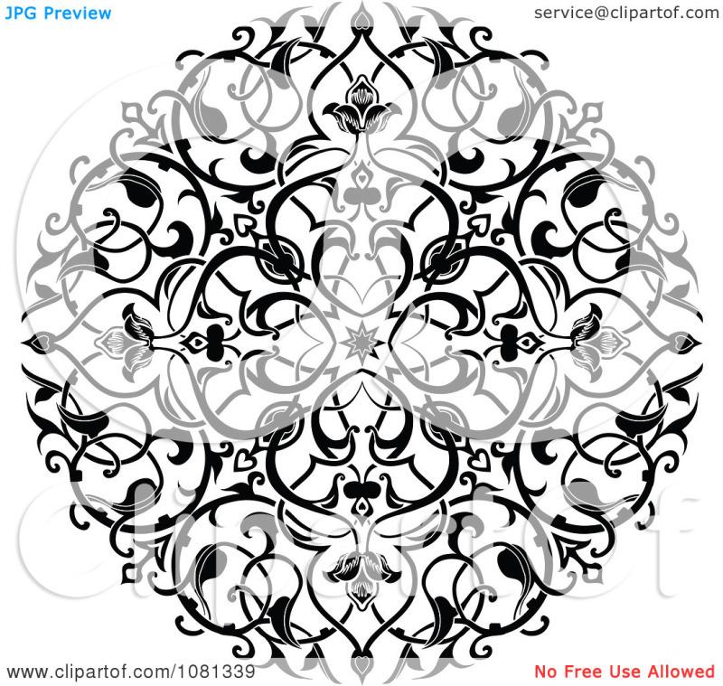 Floral circle tattoo design