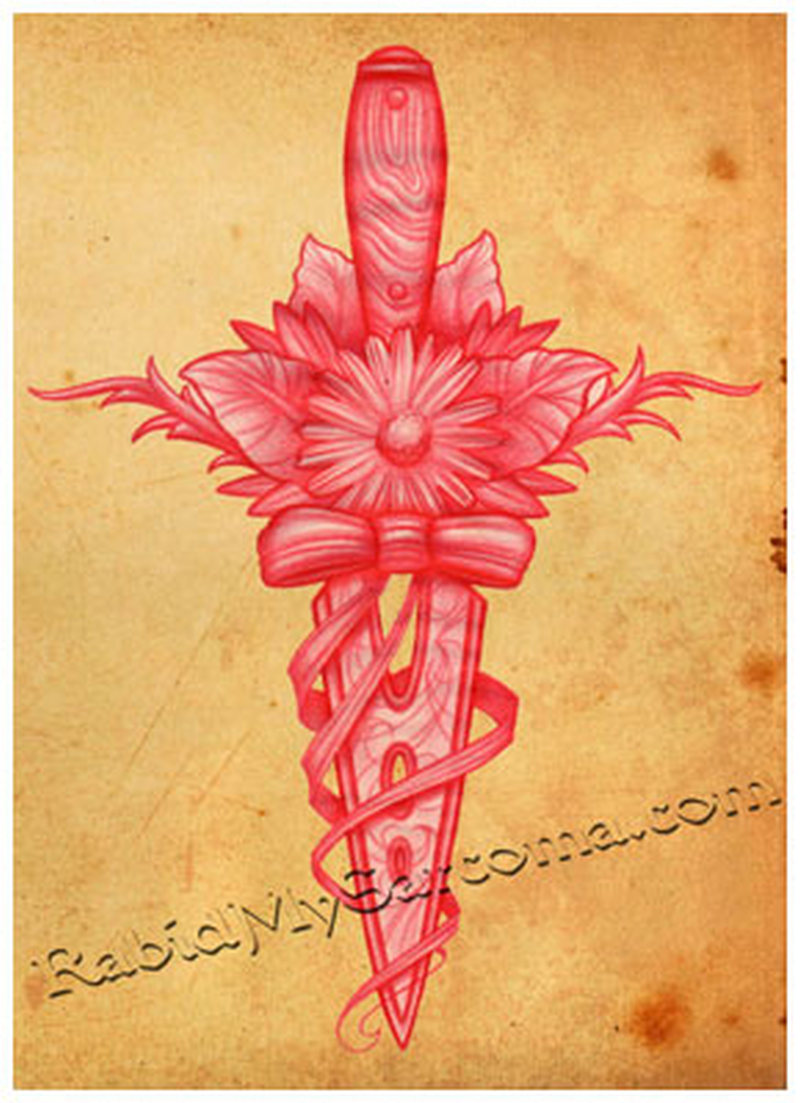 Floral dagger flash tattoo