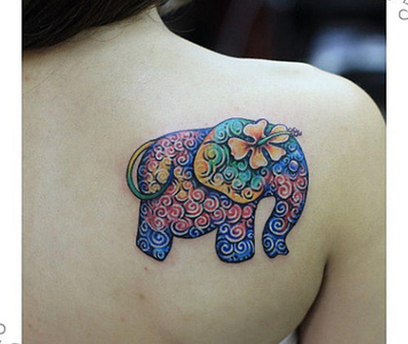 Floral elephant tattoo design