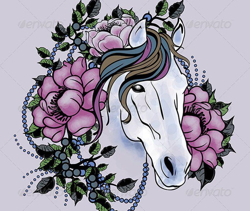 Floral horse head tattoo design