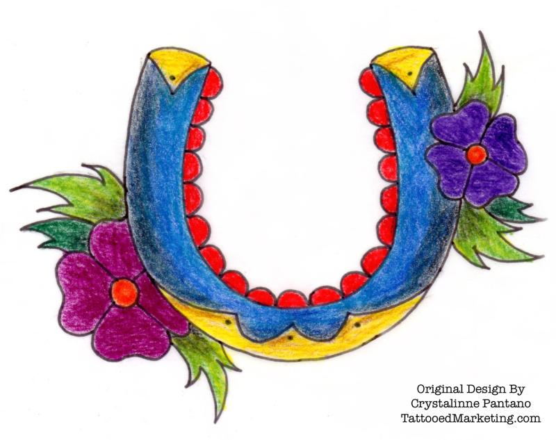 Floral horseshoe tattoo design