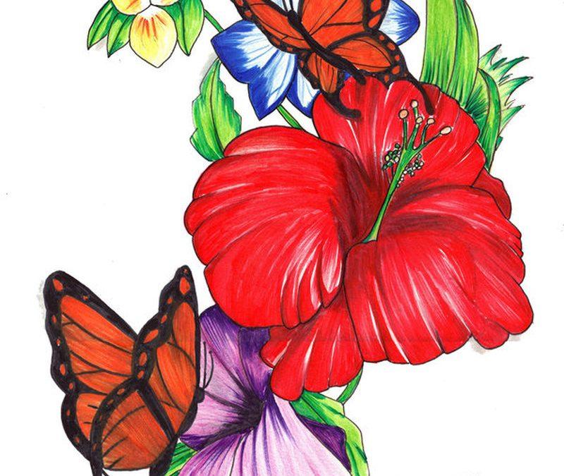 Floral n butterflies tattoo design