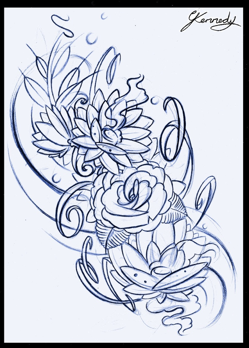 Floral tattoo sketch