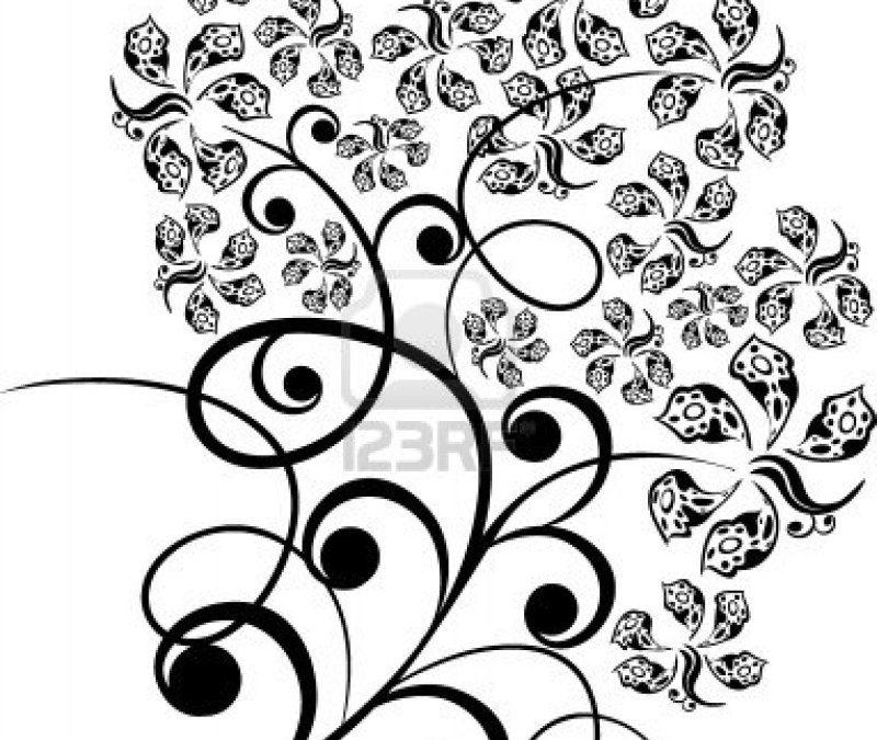 Floral tattoo stencil