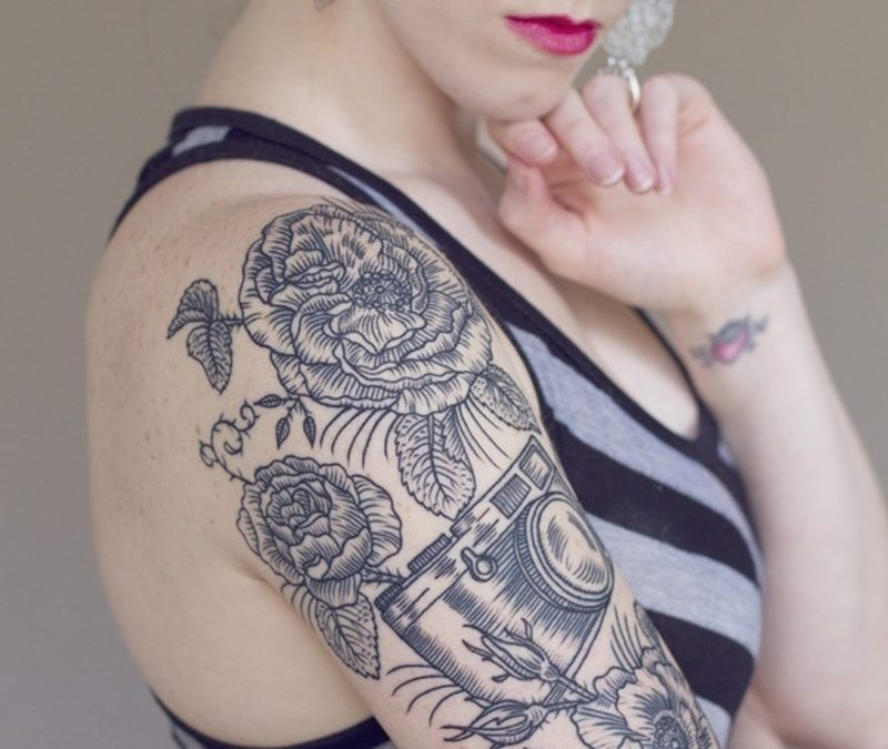 Floral vintage camera tattoo design